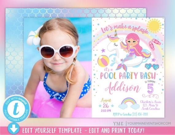 Unicorn Mermaid Pool Party Invitation, Pool Party Birthday, Unicorn Mermaid Birthday Party Invitation, Pool Party Invite Photo
