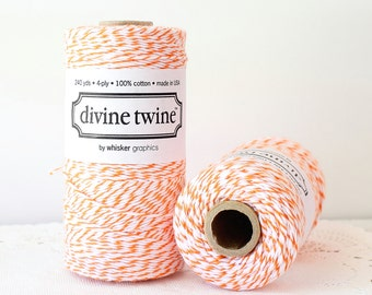 Orange Bakers Twine, Orange Twine, Cotton Bakers Twine, Striped Twine, Halloween Twine, Mason Jar Twine, Decorative Twine, Tag Twine