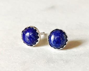 Tiny Lapis Stud Earrings // Sterling Silver Studs // 3mm 4mm 5mm 6mm 8mm // sun and moonstone jewelry