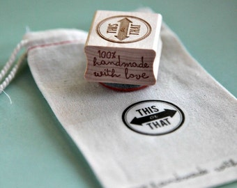 Wood Mounted Red Rubber Stamp - This or That