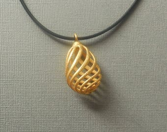 Flasket - 3D Printed Pendant in Gold Plated Steel   3D Printed Jewelry