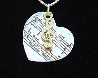 Sheet Music Jewelry, Musician Necklace, Sheet Music charm, Music Lover gift, Music Teacher gift, Treble Clef charm, Gifts for her