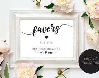 Favors Sign, Wedding Favors Sign, PDF Instant Download