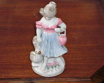 Vintage Pink & Blue China Porcelain Girl with Duck Figurine