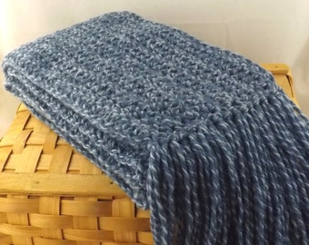 The Boyfriend Scarf 100% new wool crocheted huge fringed scarf in denim blue marl