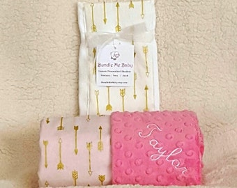 Baby Girl Pink Blanket Gold Arrows Name Embroidery - Minky Gift Set Burp Cloths Newborn Pink Minky Sparkle 1st Crib Bedding Shower Gift
