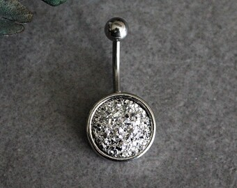 Silver Belly Ring, Druzy Belly Ring, Surgical Steel Belly Ring, Stainless Steel Belly Ring, Silver Navel Ring, 316L Belly Ring, Body Jewelry