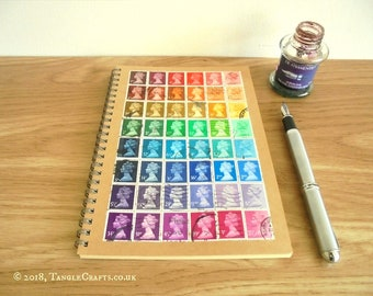 Rainbow A5 Planner, British Stamps Notebook | Timetable or Month Planner - gift for student or teacher | upcycled GB stamps, recycled paper
