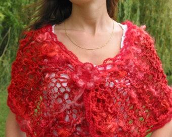 Red passion hand spun wool scarf