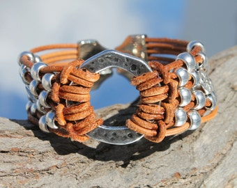 brown, multistrand Leather Bracelet with ring