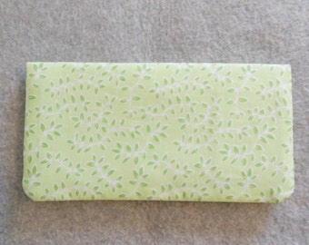 Fabric Checkbook Cover - Green Leaves