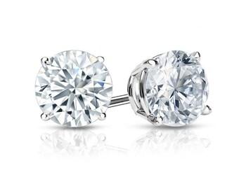 14k White Gold 4-Prong Basket Round Diamond Stud Earrings 1.00 ct. tw. (G-H, SI2)