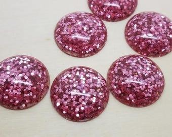 25mm Pink Glitter Cabochons - 4 pcs
