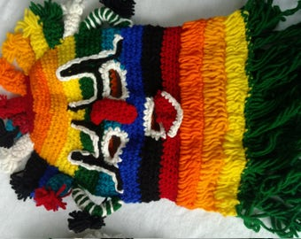 Red Orange Ecuadorian Otavalo Mask For Halloween, Dia de los Muertos or Any Occasion, and Home Decor