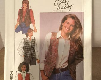 Simplicity Pattern #9373 ©1989 Christie Brinkley Collection Misses' Lined Vests with Trim Variations Size HH (6-12)