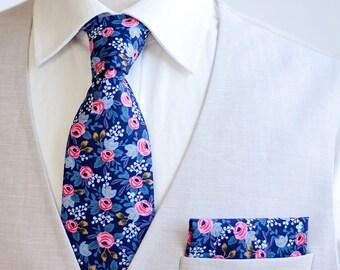 Necktie, Neckties, Mens Necktie, Neck Tie, Floral Neckties, Groomsmen Necktie, Groomsmen Gift, Weddings, Ties, Rifle Paper Co - Rosa In Navy