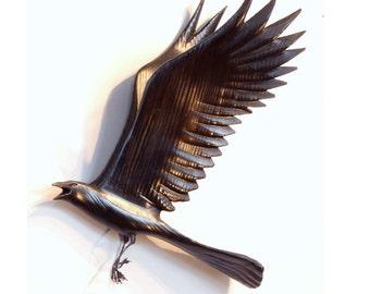 Flying Crow wood sculpture, gesture 4