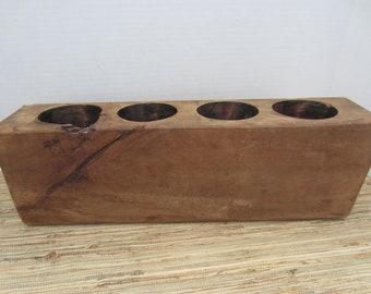 Vintage Wood Sugar Mold/ Wood Candle Holder/ Farmhouse Decor/ Primitive Decor/ Antique Decor/ Sugar Mold/ Rustic Farmhouse/ Silverware Caddy