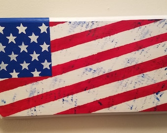 American Flag Plaque Hand Painted Modified