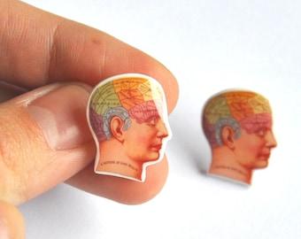 Phrenology diagram vintage geeky Stud Earrings