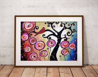 Bird in A Tree Print Whimsical Curly Tree Wall Art Woodland Living Room Decor