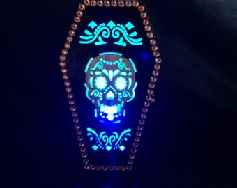 Day Of The Dead Black And Gold Coffin Box With Skull Cut Outs And Color Changing LED Lights