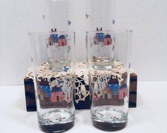 International Heartland Glass Tumbler 12 oz Farm Scene Folk Art Set of 4