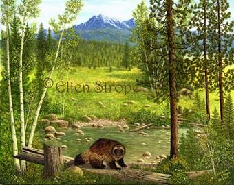 CARDS, wolverines, note cards, lodge decor, cabin decor, wildlife decor,wildlife, wolverine decpr, forest, Ellen Strope