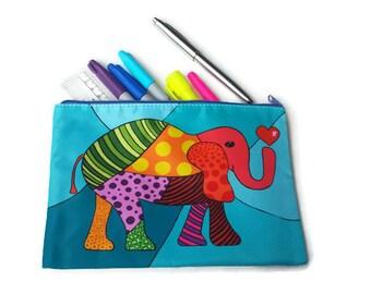 pencil case, makeup bag, pencil holder, elephant pouch, case, purse, makeup pouch
