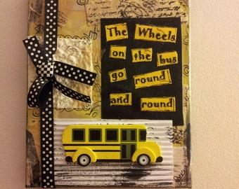 """Mixed Media """"bus driver"""" Canvas"""