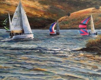 Sailboat Race Original Acrylic Painting/Sailboats Art