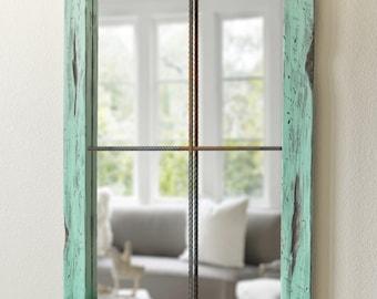 Rustic Mirror Distressed Faux Window - Vintage Green