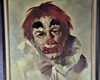 Mid-Century CLOWN  Painting- O/C - G. Pascarella - 1960's