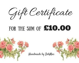 gift certificate, ten pounds gift certificate, gift voucher, coupon, stocking filler, stocking stuffer, voucher code, last minute gift