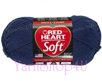 NAVY 5oz Red Heart Soft Yarn, This medium worsted weight Solid Navy Blue Acrylic Yarn in a large 256 yard ball. This yarn has no dye lot.