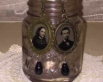 Victorian Gem Tin Type Photo Earrings with Edwardian Black Glass Drops Oddities
