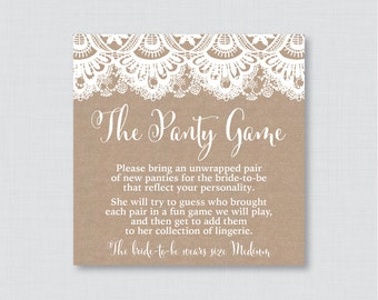 Burlap and Lace Panty Game - Printable Burlap and Lace Lingerie Shower Panty Game AND Sign - Lingerie Game, Bachelorette Party Game 0003
