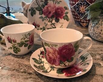 Fine Bone China Roy Kirkham 1992 Large Coffee Mug with Saucer, English Rose, Made in England, 2 Mugs, 2 Saucers, Item #593400032