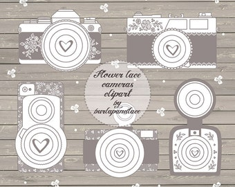 Rustic cameras clipart, shabby chic cameras clipart, wedding invitations, retro cameras, lace, flower, wood