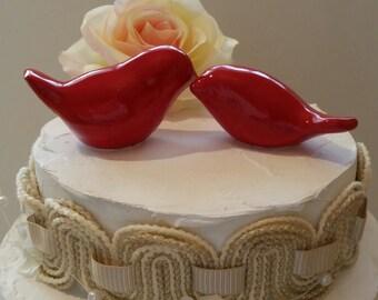 Bird Wedding Cake Topper Red Love Birds Original Design Ceramic Home Decor Wedding Keepsake, Wedding Favor