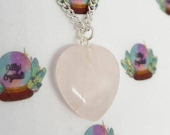 Rose Quartz Crystal Necklace, Rose Quartz Necklace, Loveheart Necklace, Heart necklace,  Crystal Necklace, Loveheart Necklace, Mothers Day