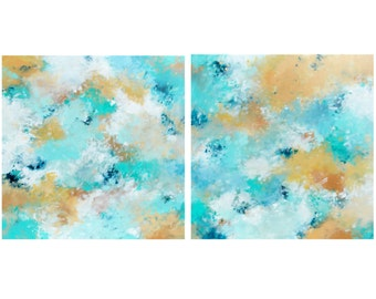 Large Original Abstract Diptych, Set of 2 acrylic paintings on 24x24 canvases, Beach Home Decor, Modern Art, turquoise sand white blue