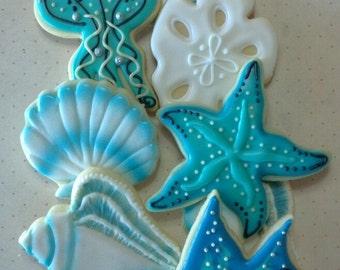 Sea Life Cookies- Shell Cookies- Jelly Fish Cookies- Nautical Cookies - Custom Decorated Cookies