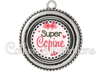 2 pendant cabochons 25mm Super girl - series