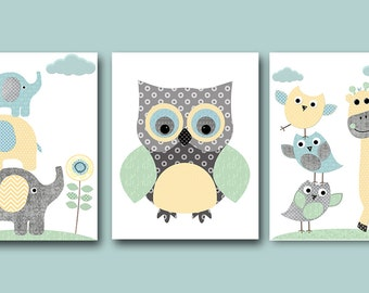 Elephant Giraffe Owl Nursery Decor INSTANT DOWNLOAD Art Digital Art Baby Boy Nursery Art Digital Download Art Set of 3 8x10 11X14 Gray Blue