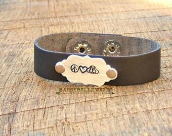 Peace Love Dogs Leather Bracelet pet puppy animal lover handstamped adjustable brushed silver heart brown