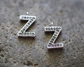 Letter Z-  Unique Initial Alphabet Letters, Silver Plated with Zirconia - INTS-Z