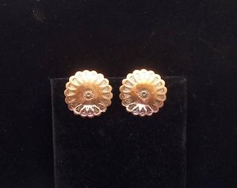 Copper Disc Clip On Earrings