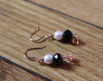 Pearl & Antique Black Crystal Earrings