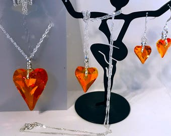 Valentine, Wild Heart Necklace & Earrings in Swarovski Crystal, Sterling Silver, Astral Pink 27mm, 17mm, or 12mmm Available